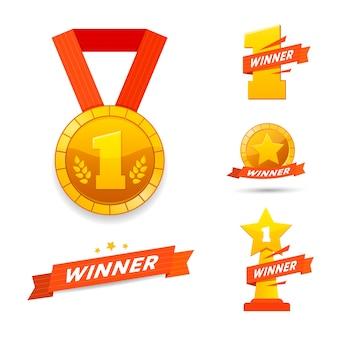 Zwycięzca zestaw nagród ikony lub projekt etykiety.