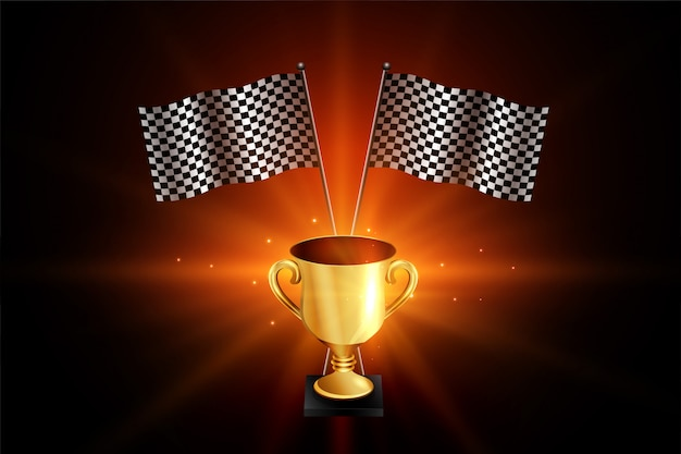 Zwycięzca złote trofeum z flagami wyścigowymi