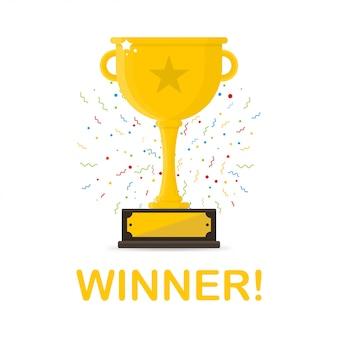 Zwycięzca złoty puchar z czerwoną wstążką.