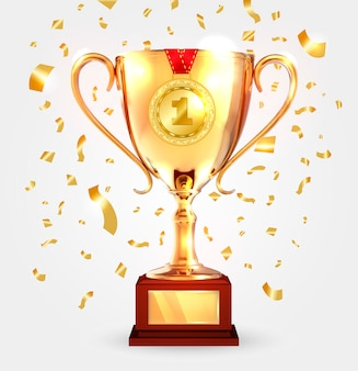 Zwycięzca złoty puchar z medalem.