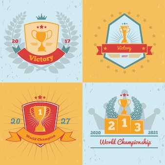 Zwycięzcy mistrzostw świata nagradzają złote trofea, emblematy 4 płaskie kolorowe tło kolekcja ikon na białym tle