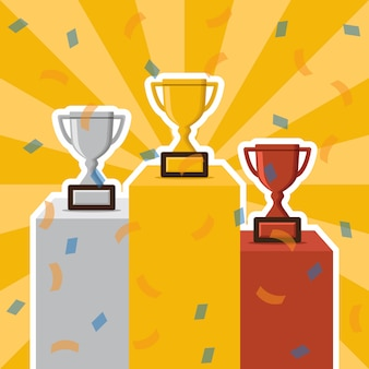 Zwycięzcy podium i trofeum wektor