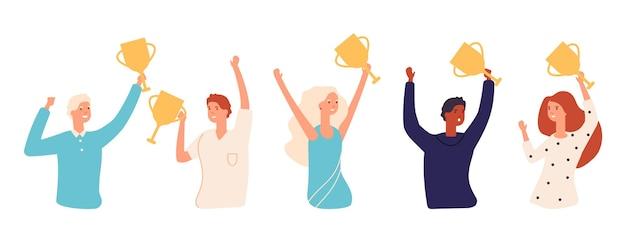 Zwycięzcy z pucharami. złote nagrody, ludzie posiadający złoty puchar