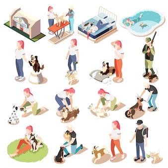 Zwykłe życie mężczyzny i jego psa izometryczny zestaw ikon kobieta i mężczyzna z psami ilustracji