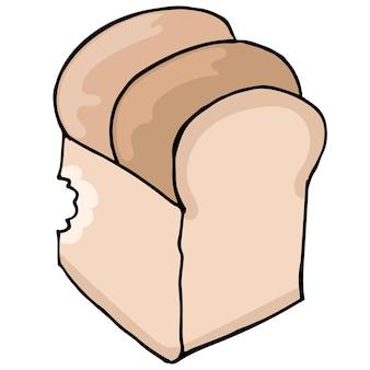 Zwykły chleb doodle komiks losowanie. kreskówka ilustracja naklejka maskotka emotikon