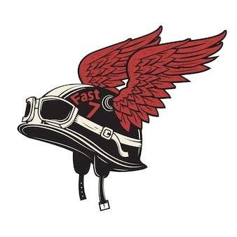 Żyć by jeździć. motocyklu hełm z skrzydłami na białym tle. element do nadruku na koszulce, plakatu, godła, odznaki, znaku.