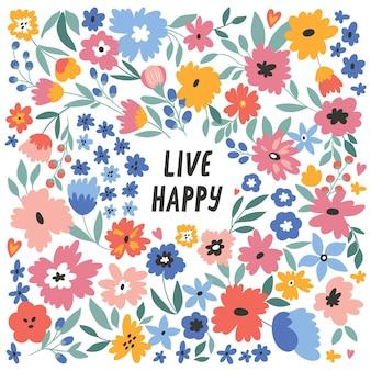 Żyć szczęśliwy wektor ilustracja z ręcznie rysowane napis i kwiaty wakacje wydarzenie rocznica