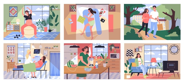 Życie codzienne w ciąży. młoda kobieta przygotowuje się do bycia mamą. uprawianie fitnessu, spacery, zdrowe odżywianie, wizyty u lekarza. dziecko czeka. kobieta w ciąży z dużym brzuchem.