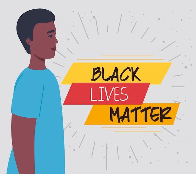 Życie czarnych ma znaczenie, mężczyzna z profilu afrykański, powstrzymaj rasizm.