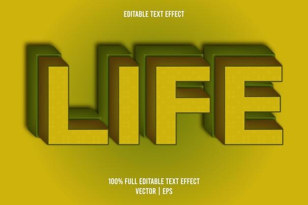 Życie edytowalny efekt tekstowy w stylu komiksowym w kolorze żółtym i zielonym