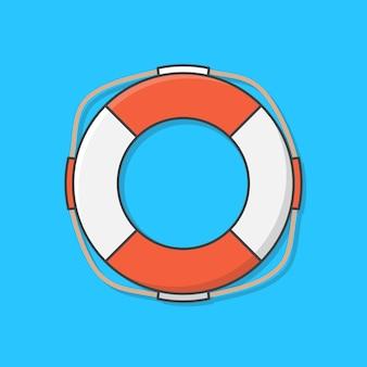 Życie ikona ilustracja boja. ratownik na ratunek utonięcia. pierścień życia. koncepcja wakacji