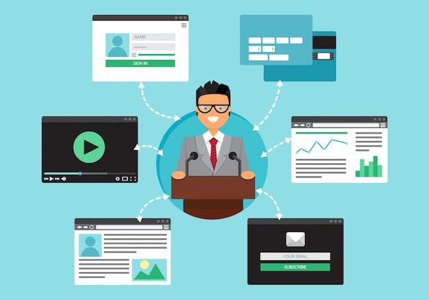 Życie internetowe biznesmena. graficzny interfejs użytkownika oraz formularze i elementy stron internetowych. wektor