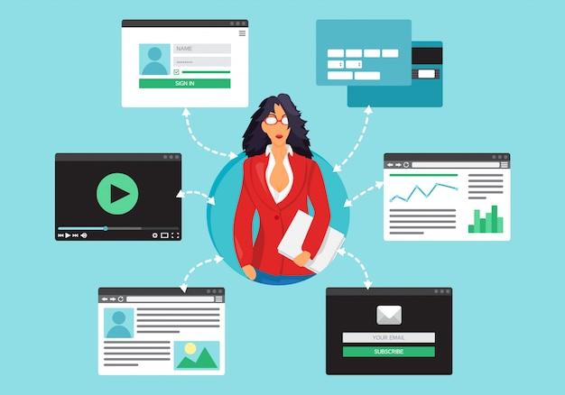 Życie internetowe bizneswoman z wideo
