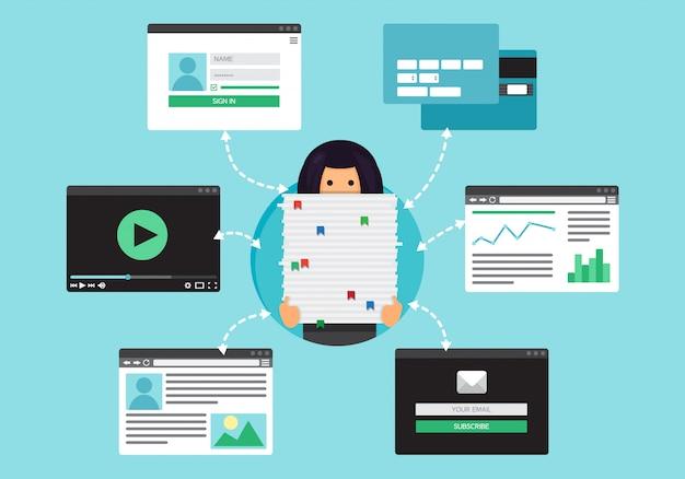 Życie internetowe kobiety pracującej z wideo, bloga, sieci społecznościowych, zakupów online i poczty e-mail