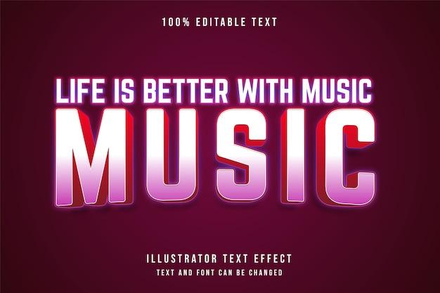 Życie jest lepsze dzięki różowej gradacji efektów edytowalnych muzyki