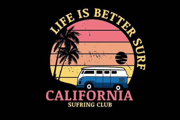 Życie jest lepsze surfowanie w klubie surfingowym w kalifornii w kolorze pomarańczowym i żółtym