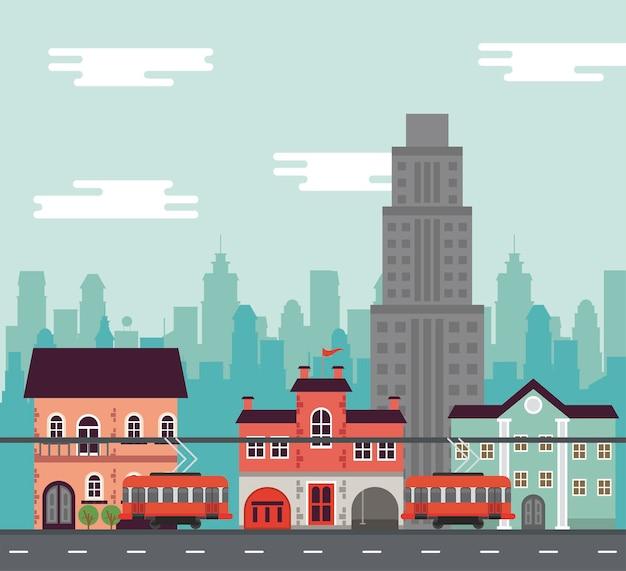 Życie miasta megalopolis pejzaż scena z budynkami i ilustracją samochodów tramwajowych