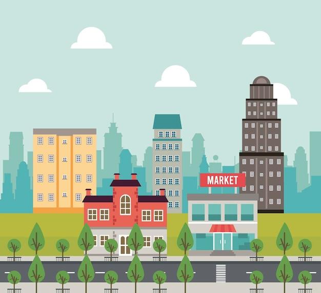 Życie miasta megalopolis pejzaż scena z rynkiem i ilustracją drzew