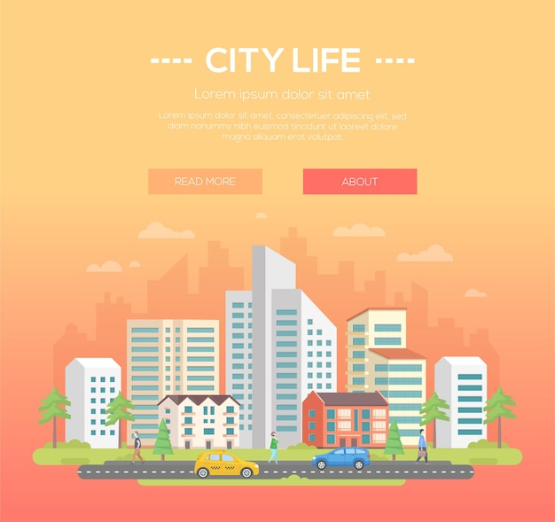 Życie miasta - nowoczesne ilustracji wektorowych z miejscem na tekst na jasnopomarańczowym tle. ładny miejski krajobraz z drapaczami chmur i małymi, niskimi budynkami, drzewami, ludźmi chodzącymi, samochodami na drodze