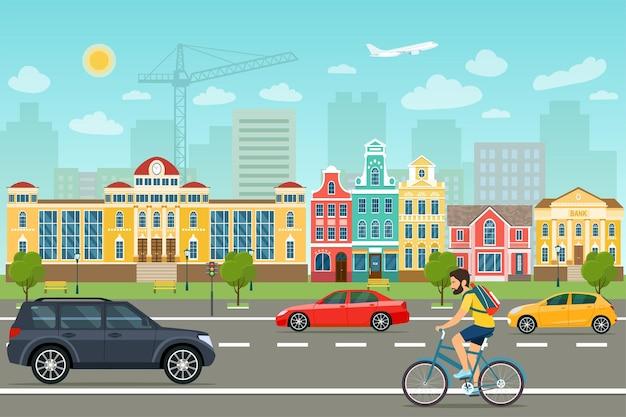 Życie miasta z samochodami, drogą i budynkami. ilustracja wektorowa.