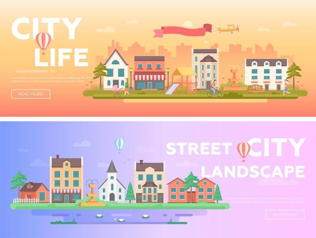 Życie miasta - zestaw nowoczesnych ilustracji wektorowych płaski z miejscem na tekst na pomarańczowym i niebieskim tle. dwa warianty krajobrazu miejskiego z budynkami, ludźmi, placem zabaw, fontannami, kościołem, stawem