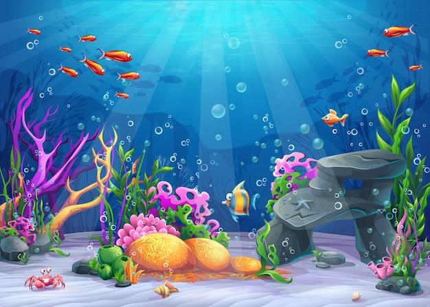 Życie morskie krajobraz oceanu i podwodnego świata z różnymi mieszkańcami