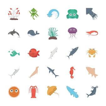 Życie morskie wektor zestaw