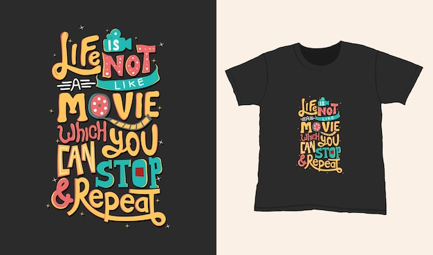 Życie nie przypomina filmu. cytuj napis typografii na projekt koszulki. ręcznie rysowane napis