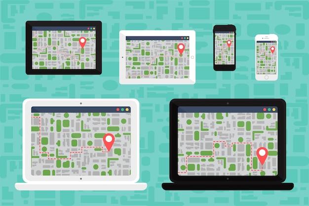 Życie towarzyskie ze smartfonem. elektroniczna mapa na smartfonie w ręku w płaskim minimalistycznym stylu. wektor
