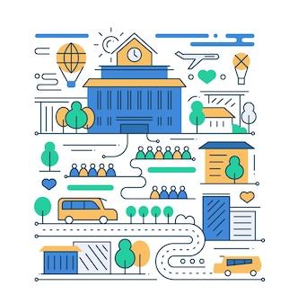 Życie W Mieście - Nowoczesna Linia Płaska Kompozycja Miasta Z Budynkiem Szkoły I Ludźmi Premium Wektorów