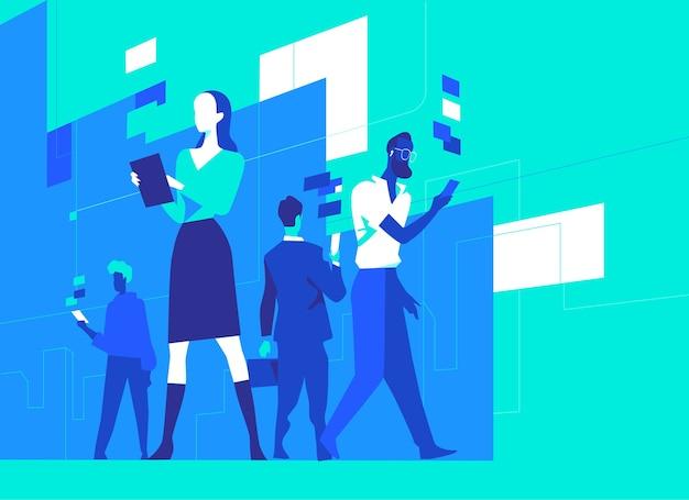 Życie współczesnych ludzi w erze cyfrowej. osoby korzystające z różnych urządzeń cyfrowych