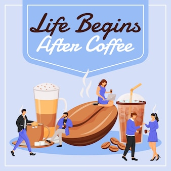 Życie zaczyna się po opublikowaniu kawy w mediach społecznościowych. motywacyjne zdanie. szablon banera internetowego. wzmacniacz kawiarniany, układ treści z napisem. plakat, reklamy drukowane i ilustracje