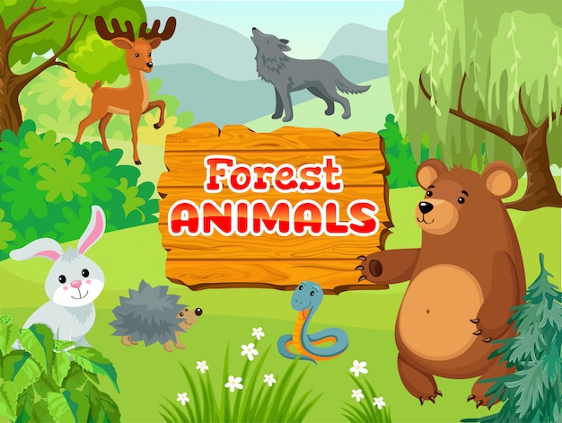 Życie zwierząt w lesie.