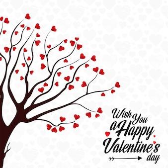 Życzę szczęśliwego walentynkowego serca drzewa tła
