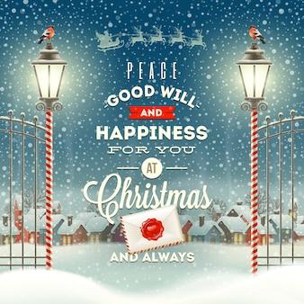 Życzenia bożonarodzeniowe projekt typu z rocznika latarnią uliczną na tle zimowego miasta wieczorem.