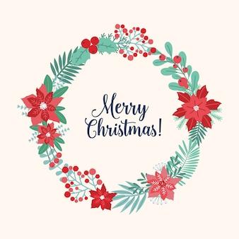Życzenia bożonarodzeniowe wewnątrz wieńca świątecznego