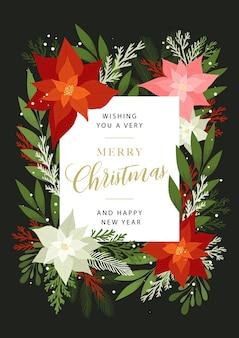 Życzenia bożonarodzeniowe z roślinami, kwiatami, poinsecją, gałązkami jodły i sosny, jagodami.