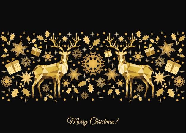 Życzenia bożonarodzeniowe ze złotą dekoracją