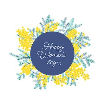 Życzenia na dzień kobiet w otoczeniu wiosennej mimozy lub srebrnych gałązek aksamitu z kwiatami i liśćmi