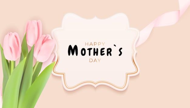 Życzenia na dzień matki z realistycznymi kwiatami tulipanów.