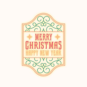 Życzenia świąteczne streszczenie wektor retro rama etykieta, znak lub szablon logo. kolorowe tło wiruje ilustracja z typografią. odosobniony