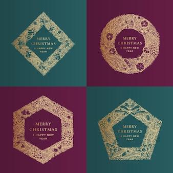 Życzenia świąteczne wektor szablony banerów zestaw zimowe wakacje geometria doodle sosnowe gałęzie wieniec ...