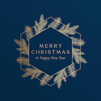 Życzenia świąteczne złoty brokat hexagon rama transparent z nowoczesną typografią i ręcznie rysowane gałęzie świerkowe. nowy układ kart szkicu najwyższej jakości. zimowe wakacje godło koncepcja. odosobniony