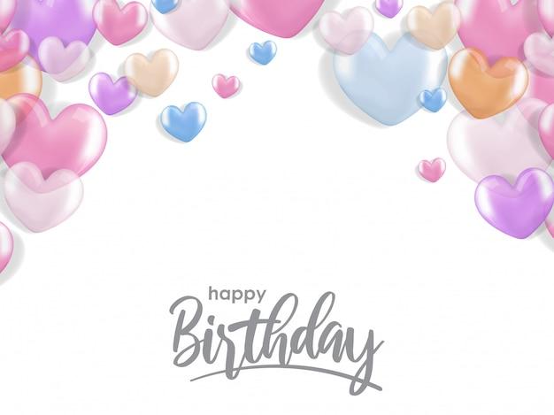 Życzenia urodzinowe z 3d realistyczne balon serca