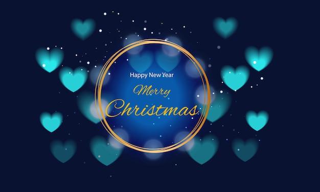 Życzenia wesołych świąt w złotej ramie i niebieskich serduszkach