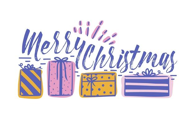 Życzenie wesołych świąt bożego narodzenia napisane kursywą kaligrafii