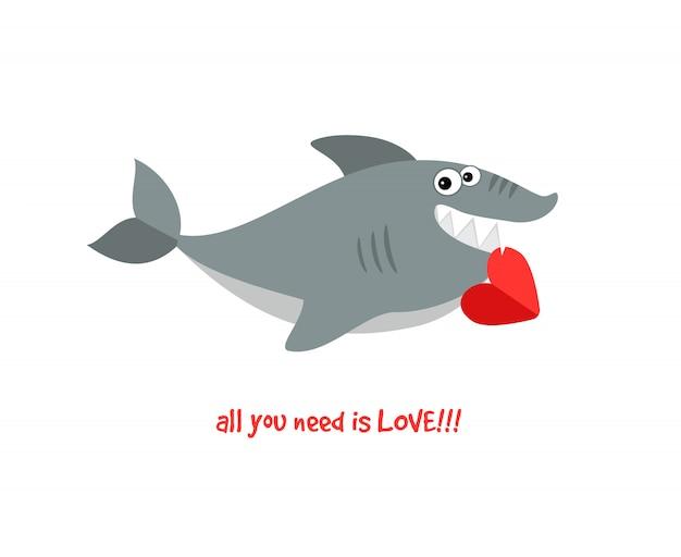 Życzliwy uśmiechnięty kreskówka rekin