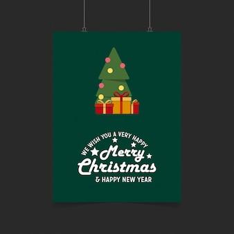 Życzymy ci bardzo wesołych świąt i szczęśliwego nowego roku gift box tle