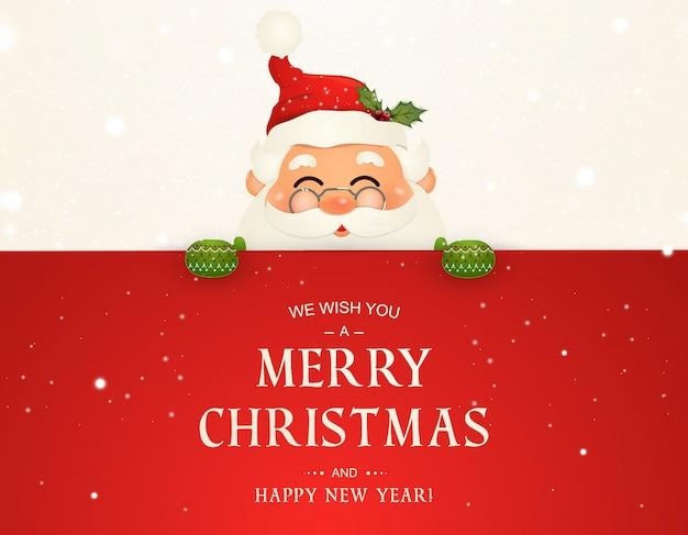 Życzymy ci wesołych świąt. szczęśliwego nowego roku. postać świętego mikołaja z dużym szyldem. wesołego mikołaja z dzwonkiem. karta z pozdrowieniami świątecznymi z bożego narodzenia śniegu. ilustracja na białym tle.