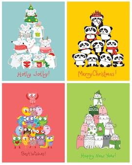 Życzymy wesołych świąt i szczęśliwego nowego roku. śliczne kartki świąteczne z uroczymi szczurami, ptakami, kotami i samochodami